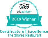 Certificate of Excellence The Shores Restaurant